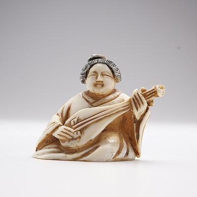 Small Japanese Carved Ivory Okimono of a Lutist