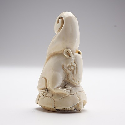Small Japanese Carved Ivory Okimono of a Squirrel Riding a Tortoise