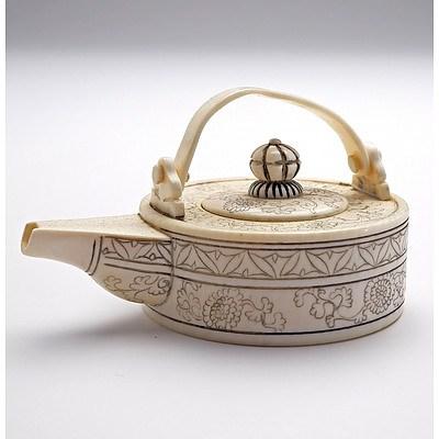 Miniature Chinese Ivory Wine Pot, Mid 20th Century
