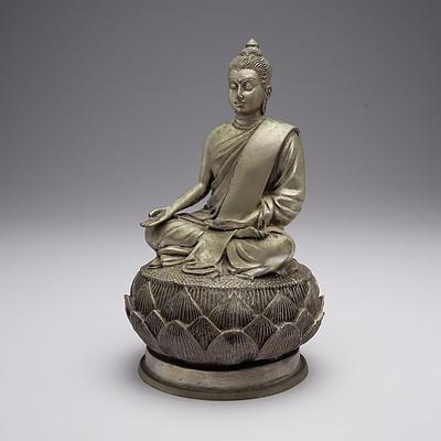 Nickeled Brass Figure of Buddha on a Lotus Base, 20th Century