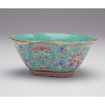 Chinese Turquoise Ground Famille Rose Bowl Decorated with Lotus and Bats, Late 19th Century