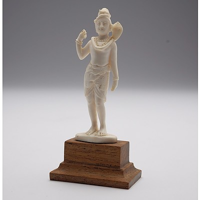 Indian Carved Ivory Figure of Shiva with Cobra, Early to Mid 20th Century