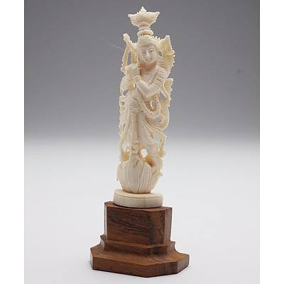 Indian Carved Ivory Hindu Deity, Probably Krishna, Early to Mid 20th Century