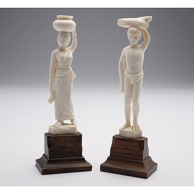 Two Carved Indian Ivory Figures, Early to Mid 20th Century