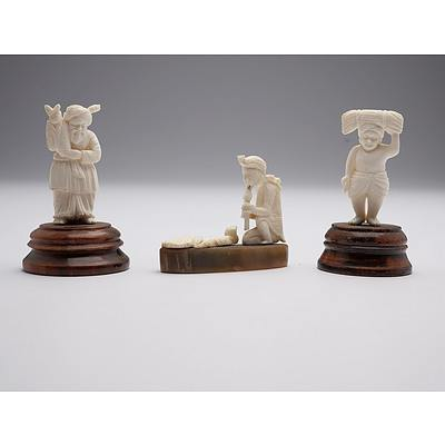 Three Carved Indian Ivory Figures Including a Snake Charmer, Early to Mid 20th Century