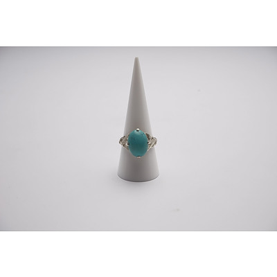 Chinese Export Sterling Silver Turquoise Ring C1950