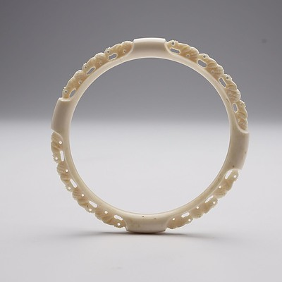 Carved Laminated Ivory Animal Procession Bracelet, Early to Mid 20th Century