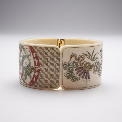 Japanese Ivory Bracelet with Carved Floral and Fan Motif, Mid 20th Century