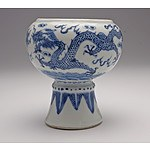 Chinese Blue and White Dragon Stem Cup, 19th Century
