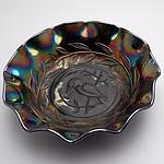 Australian Carnival Glass Kingfisher Amethyst Nappy Bowl, RD4184