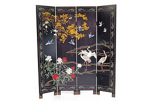 Chinese Coromandel Lacquer Four-Fold Screen, Mid 20th Century