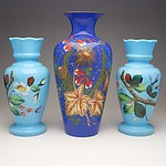 Three Antique Enamelled Glass Mantle Vases