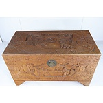 Chinese Carved Camphorwood Chest