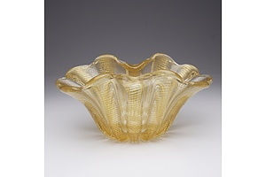 1940's Gold Leaf Venetian Glass Bowl Made on The Island of Murano Near Venice Made by Barovier & Toso