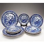 """Thirteen Burleighware """"Willow"""" Plates"""