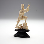 Small Japanese Carved Ivory Model of a Fisherman Early to Mid 20th Century