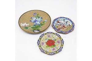 Three Chinese Cloisonne Enamel Dishes with Peony and Egret Motifs