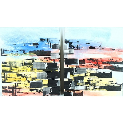 Pete Smith (1960-2014) XXVII.1 and XXVII.2 2000 Diptych Mixed Media on Boards