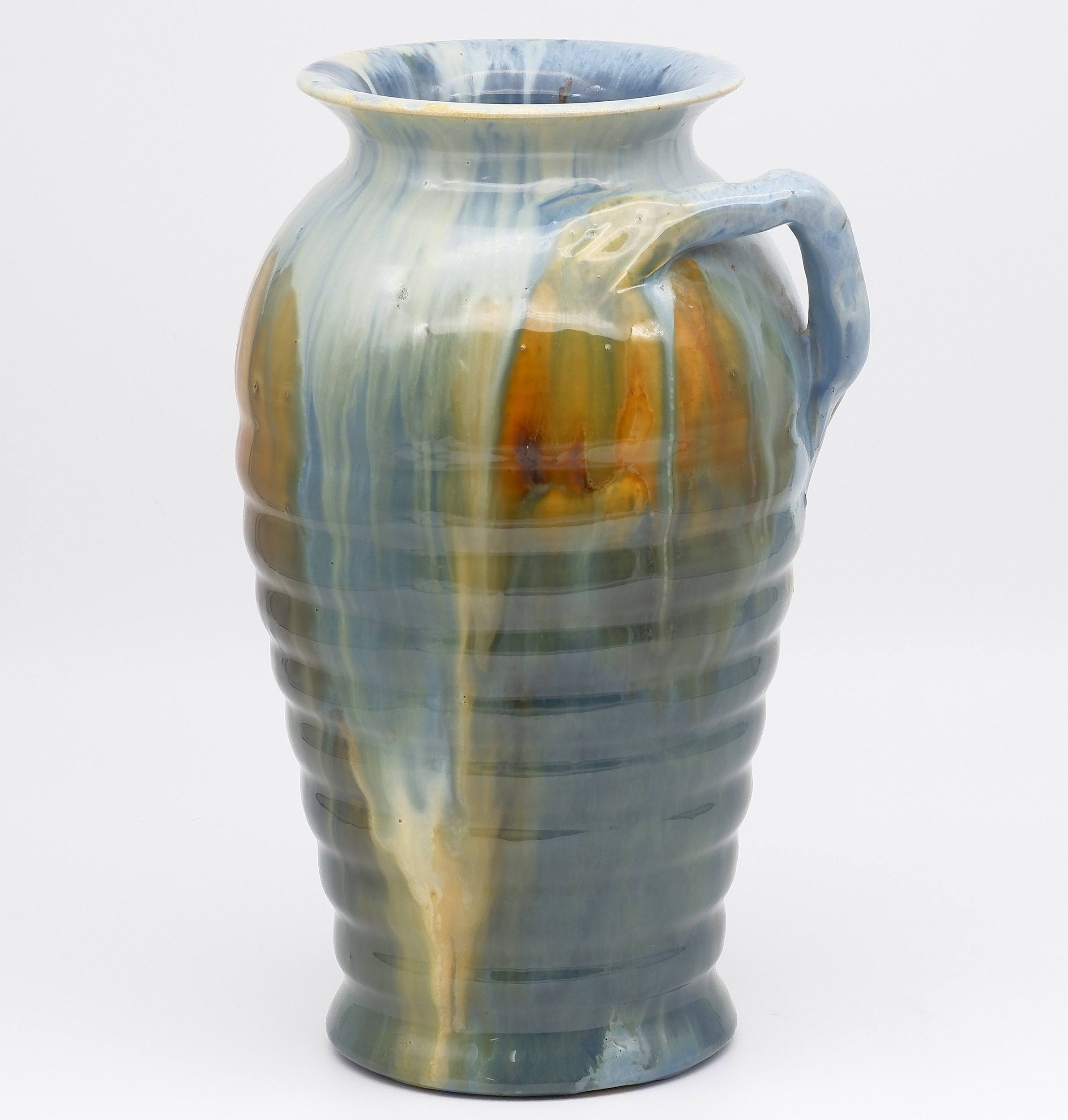 'Australian Pottery Remued Vase With Branch Handle'