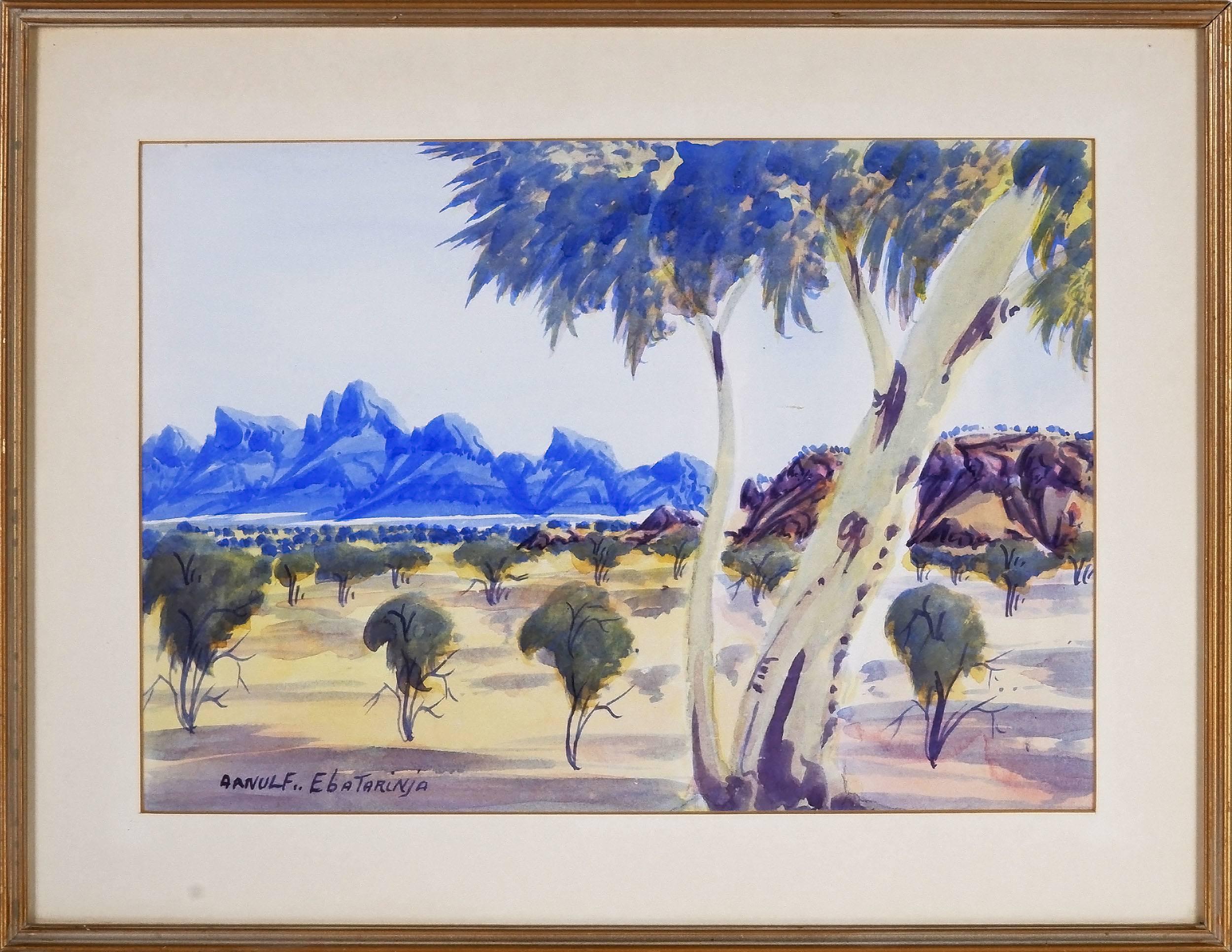 'Arnulf Ebatarinja (Aboriginal 1931 -) Haasts Bluff, Watercolour'
