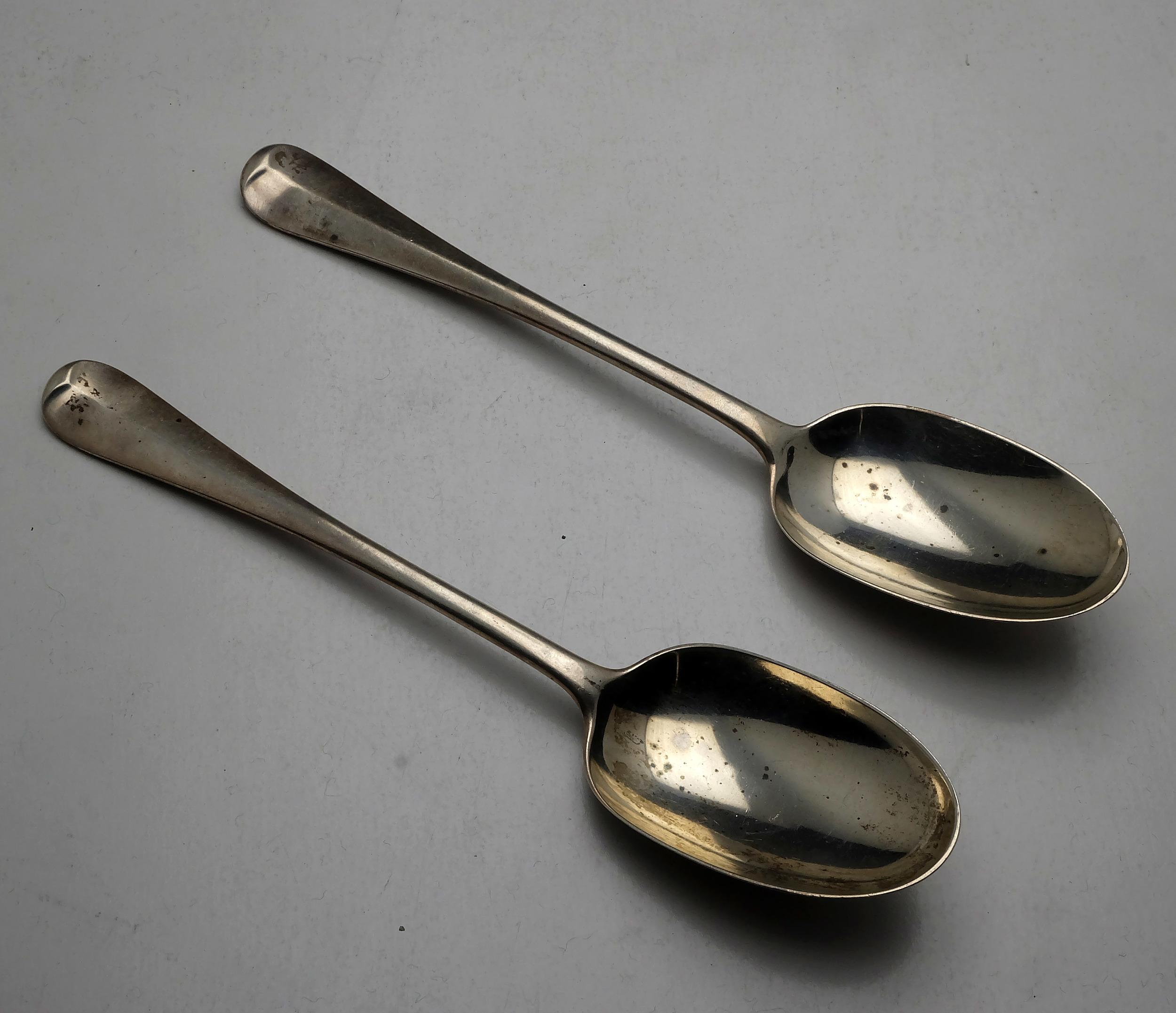 'Two Crested Sterling Silver Spoons London Goldsmiths & Silversmiths Co Ltd 1904 and 1905 150g'