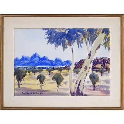 Arnulf Ebatarinja (Aboriginal 1931 -) Haasts Bluff, Watercolour