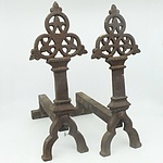 Pair of Victorian Gothic Revival Cast Iron Fire Dogs, 19th Century