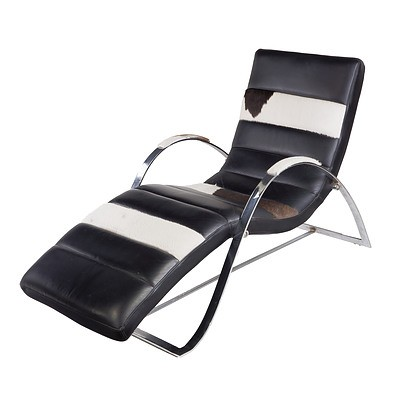 Leather and Cowhide Upholstered Chrome Frame Chaise in the Style of Corbusier