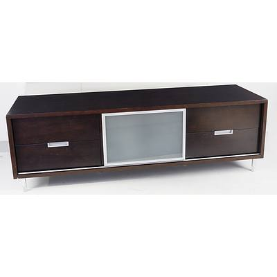 Large Entertainment Unit with Sliding Glass Door