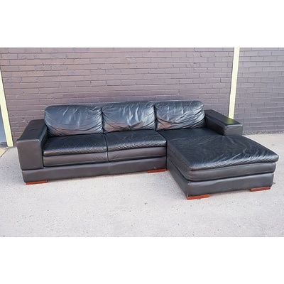 Black Leather Upholstered Three Person Modular Lounge