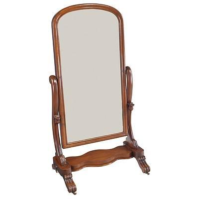 Early Victorian Mahogany Cheval Mirror Circa 1850