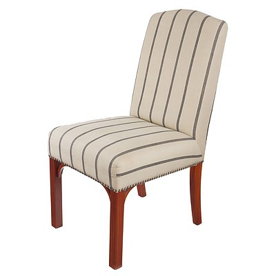 Set of Eight Contemporary High Back Upholstered Chairs in the Georgian Style