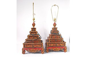 Pair of Vintage Javanese Carved, Polychrome and Gilt Decorated Table Lamps