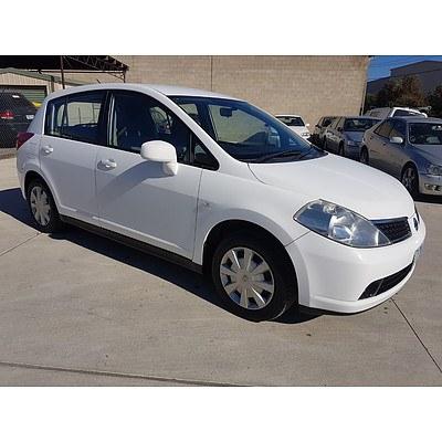 12/2008 Nissan Tiida ST C11 MY07 5d Hatchback White 1.8L