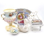 A Mingay Lusterware Urn, a Hollyware Luster Swan Vase, a Ceramic Musical Box Piano and More