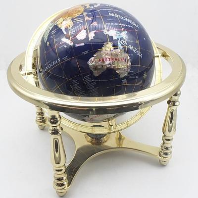 Desk Globe with Inlaid Precious and Semi Precious Stones