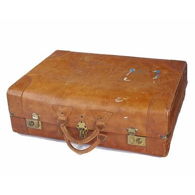 Tan Solid Hide Suitcase