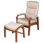 Comfort Norway Beige Leather Upholstered Reclining Armchair and Ottoman