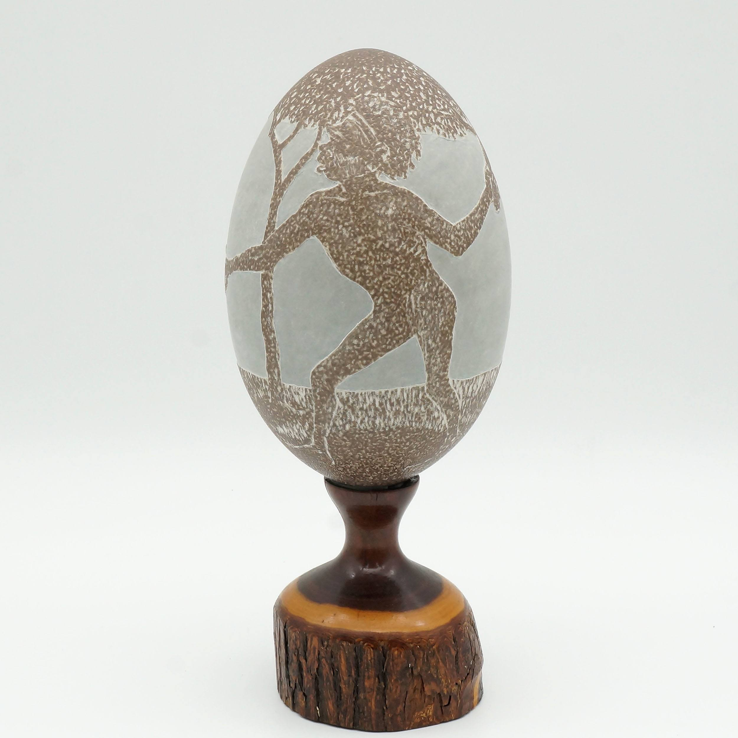 'Carved Emu Egg on a Mulga Wood Base'