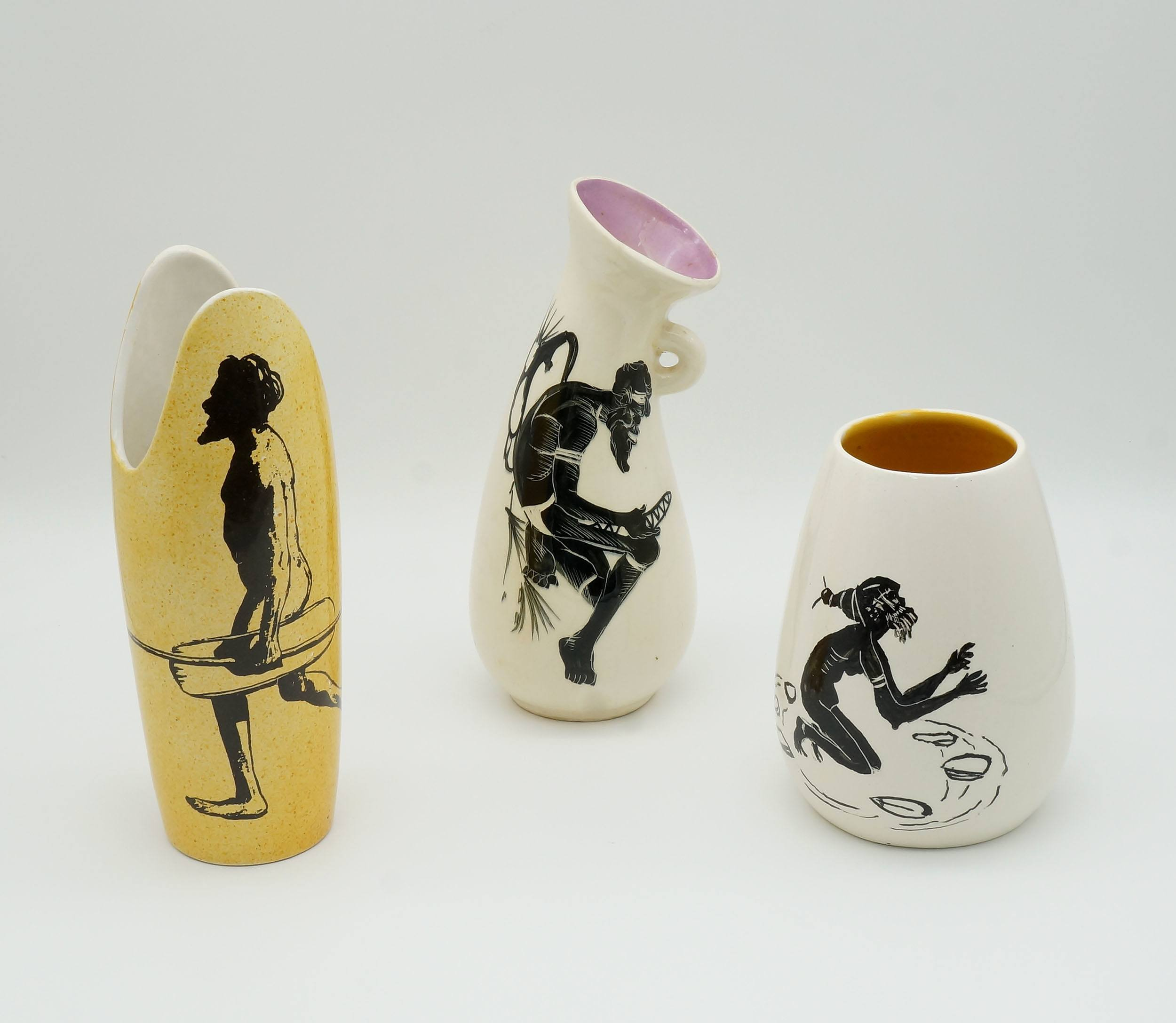 'Three Indigenous Vases, Including One Studio Anna'