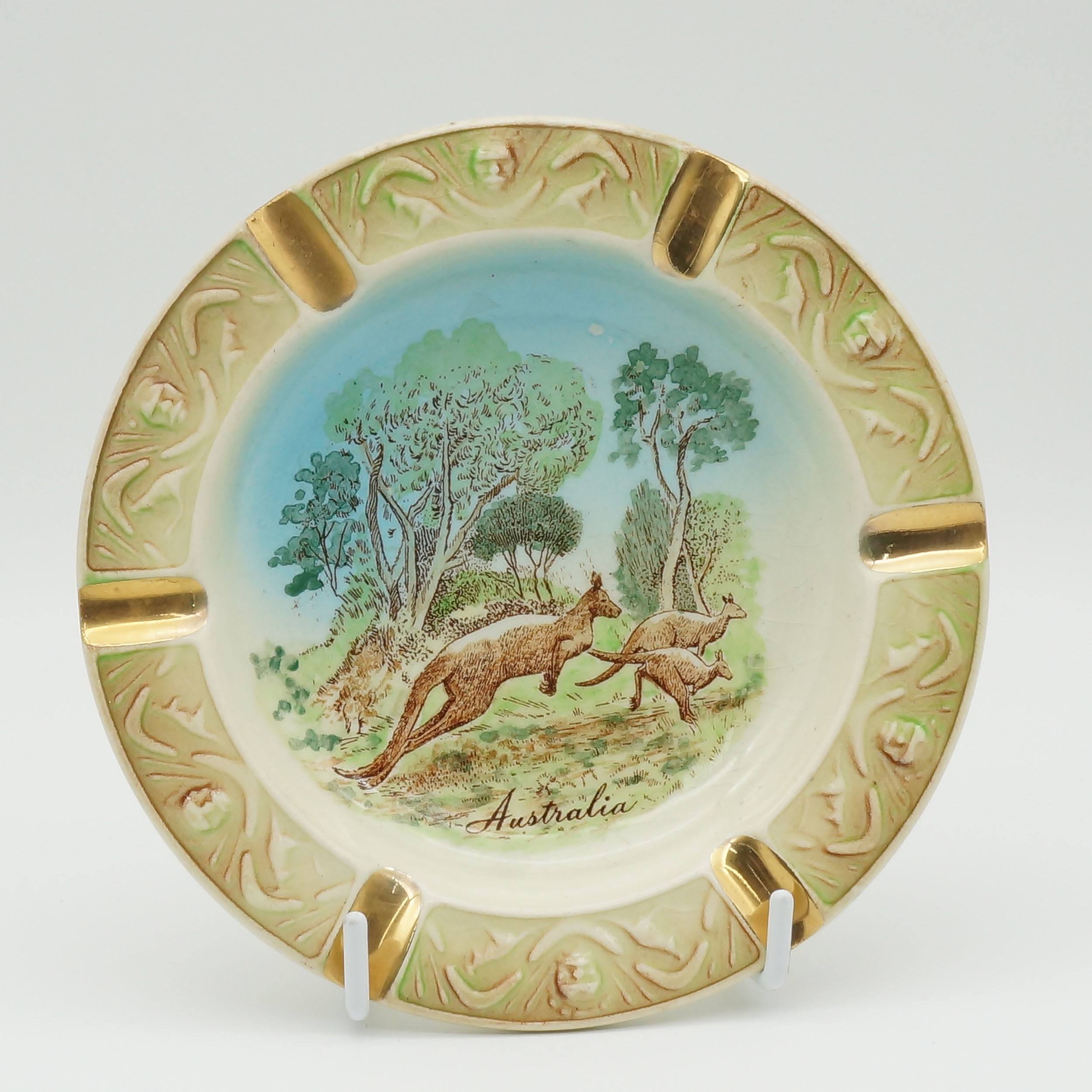 'Australian Wembley Ware Ashtray with Kangaroos'