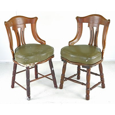 Pair of Vinyl Upholstered Chairs, Reputedly From the SS Pelton Bank Circa 1930s