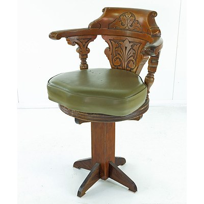 Beech Captains Chair, Reputedly From the SS Pelton Bank Circa 1930s