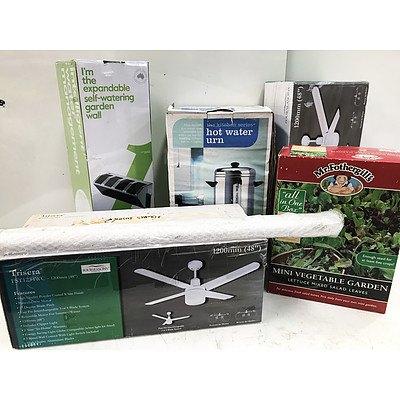 Ceiling Fans, Mini Vegetable Garden, Garden Wall & Hot Water Urn - Brand New