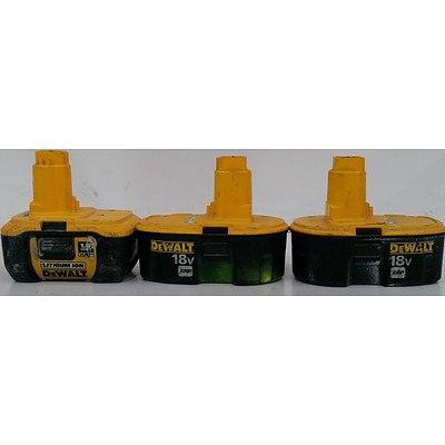 DeWalt 18 Volt Cordless Tool Batteries - Lot of Three