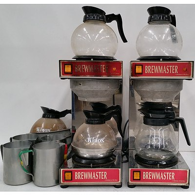 Two Brewmasterster Coffee Percolators and Accessories