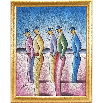 B. Long Five Standing Men Oil on Canvas