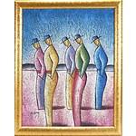 B. Long Five Standing Men Oil on Canvas