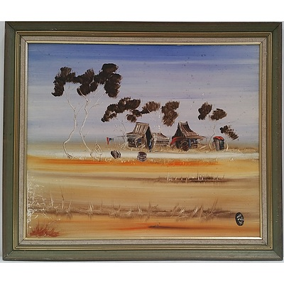 Nick Petali (1932 - 2014) Outback Scene - Oil on Board