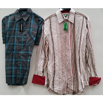Men's Long Sleeve and Short Sleeve Business and Casual Shirts - Lot of 25 - Brand New - RRP $500.00